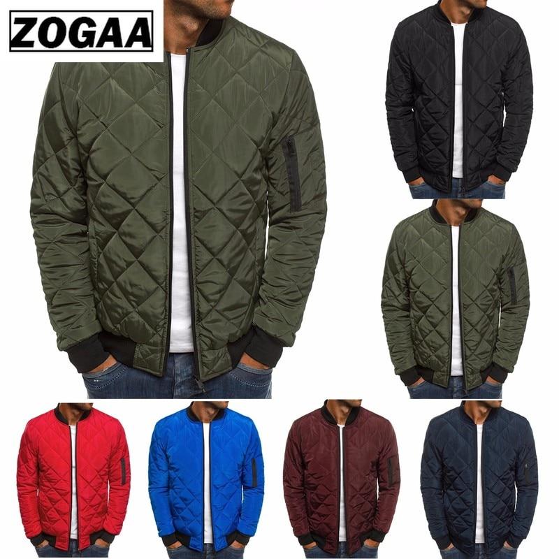 ZOGAA 2021 Men Autumn Casual Plaid Parkas Jacket Wind Breaker Overcoat Winter Clothes Zipper Jackets Clothing