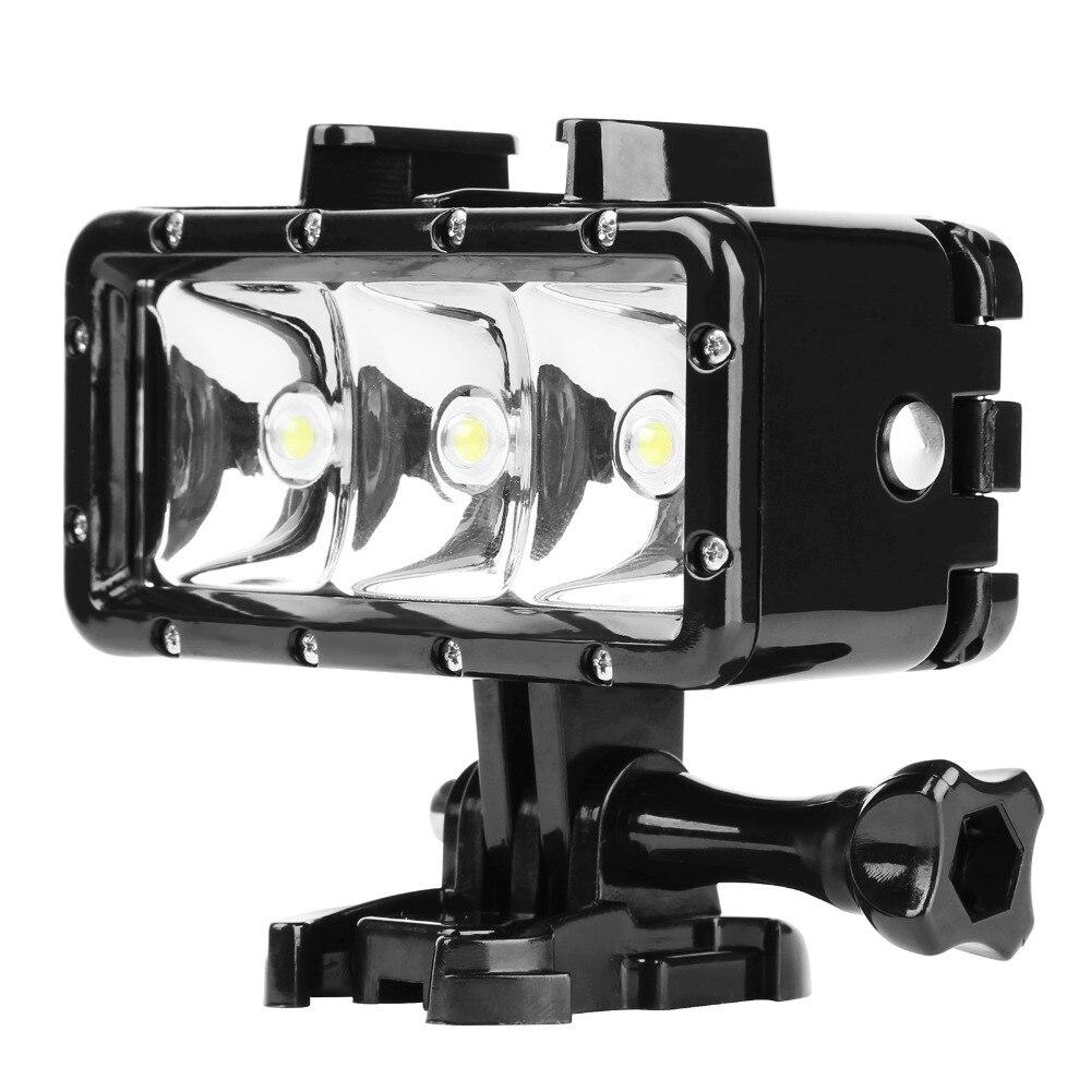 Luz LED de buceo impermeable AKASO para Gopro Hero 6 5 3 4 h9 SJCAM SJ4000 Luz de snorkel bajo el agua para cámara Yi 4K 4K