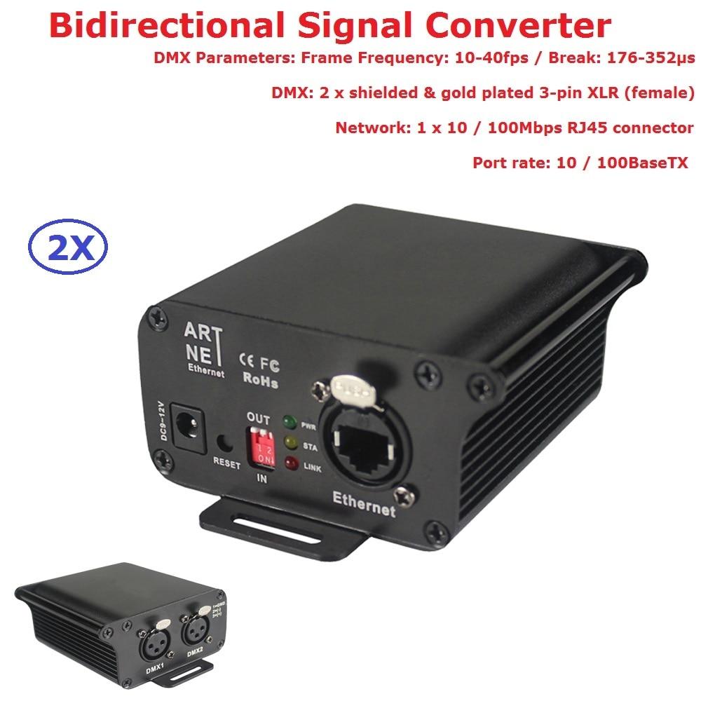 2XLot Artnet-DMX Converter Two Port Bi-directional ArtNet/DMX Converter Standard DMX512 Outputs For Party Wedding Concert Shows