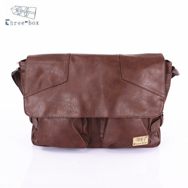 Three-Box Brand Handbag Crossbody Bag Men PU Leather Vintage Casual Satchel Sling Shoulder Messenger Bag For Man Business 1345