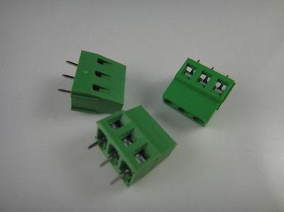 50 pcs 3 Pin Screw Terminal Block Conector 5mm Passo G