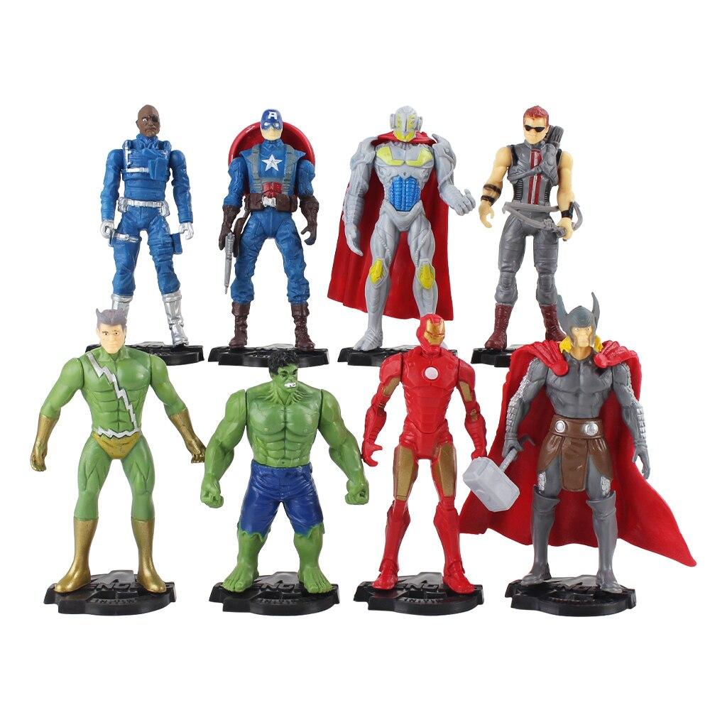 8 figuras de acción de los vengadores unids/lote Iron Man Thor Hulk Hawkeye Capitán América Nick Fury modelo juguetes regalo para niños