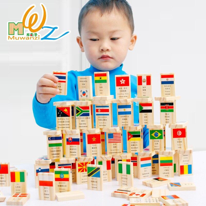 Bandera Nacional de madera MWZ 100 Uds. Dominó banderas de aprendizaje países del mundo mapa del mundo de China juguetes educativos cognitivos para niños