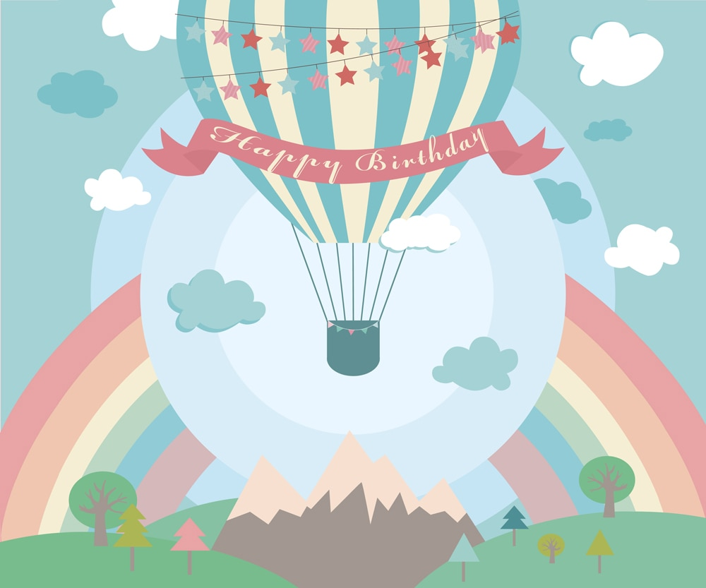 Hot air balloon rainbow Happy Birthday Photography Backdrops Photo Background Party Wall Decoration Backdrop W-309