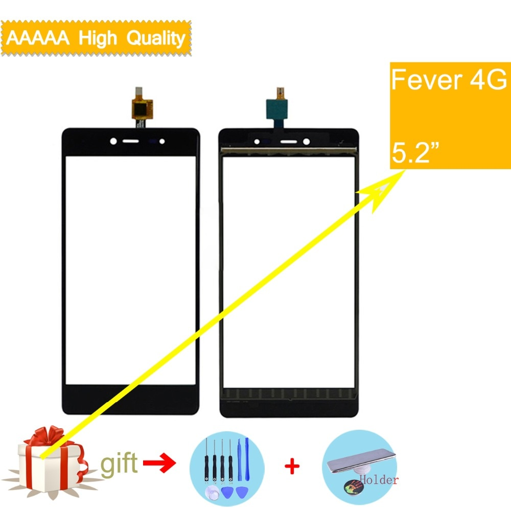 For Wiko Fever 4G Touch Screen Panel Sensor Digitizer Front Outer Glass Touchscreen Fever 4G Touch Panel Black Replacement недорого