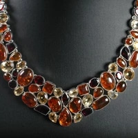 handmade indian 925 silver stone beads necklace lady necklace charming bohemia necklace