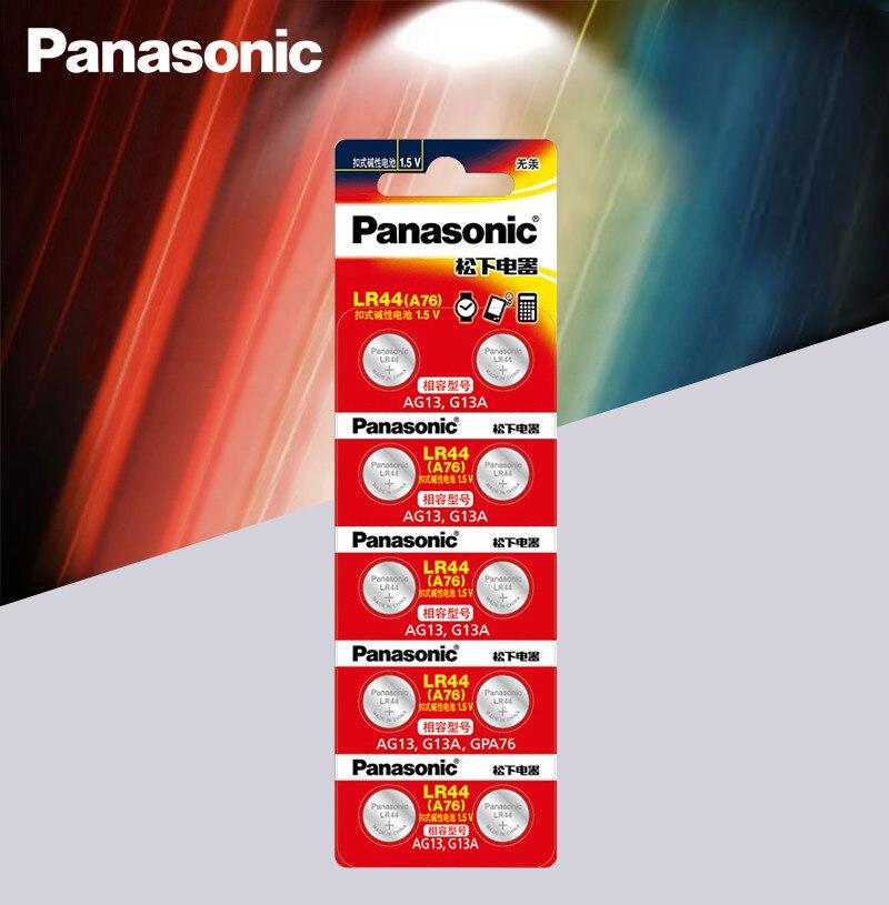 Panasonic 10 шт. 1,5 в Кнопочная батарея lr44 литиевые батареи для монет A76 AG13 G13A LR44 LR1154 357A SR44 100% оригинал