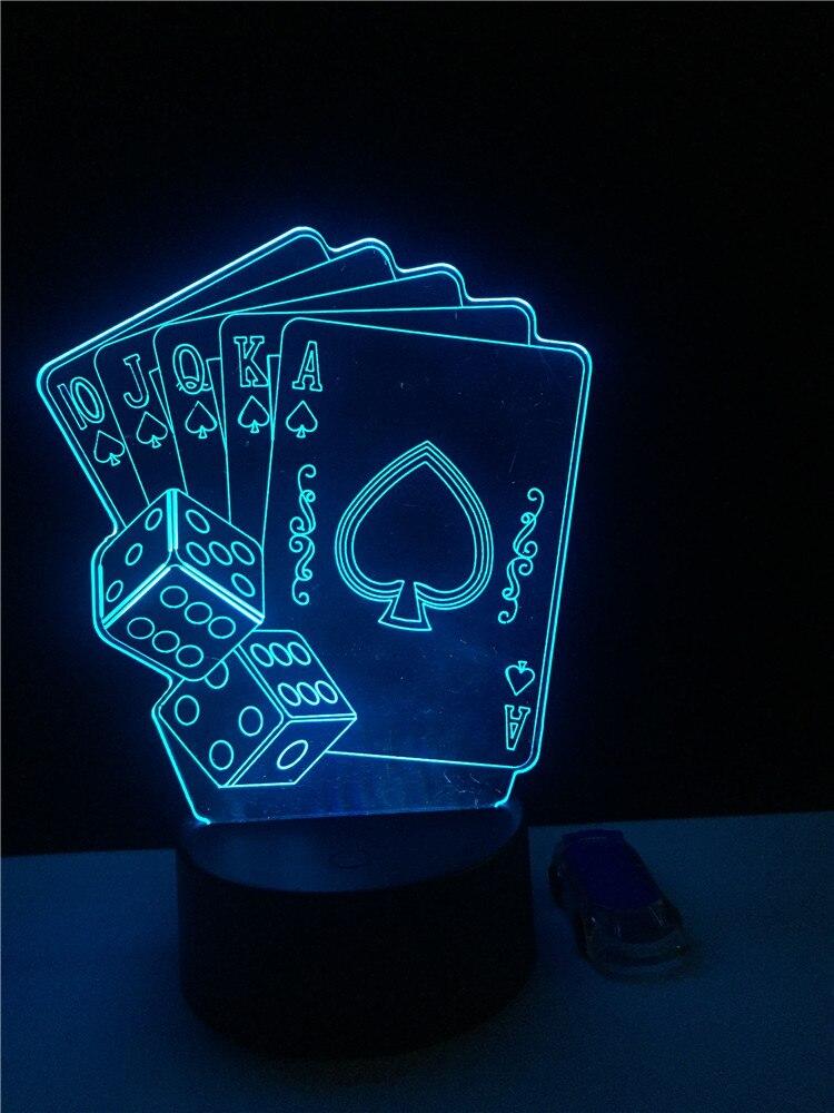 GAOPIN moda Poker en forma de luz de noche de dormitorio 3D LED USB Multicolor juego de fiesta decorativo Cable de iluminación atmósfera lámpara de mesa