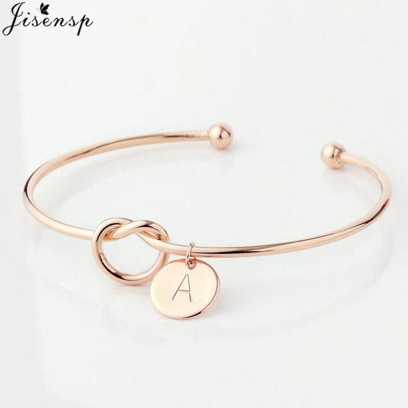 Jisensp Simple Initial Knot Bracelet 26 Letters Bangles for Girlfriends A-Z Charm Bracelets Bridesmaid Opening Bangle Jewelry