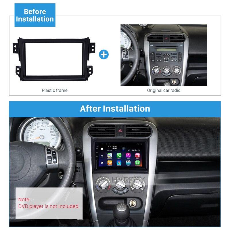Harfey 2Din Car Stereo Panel Kit Auto Radio Fascia for Suzuki Splash 2008 2009-2014 InDash Plate Frame Install kit Black NO GAP