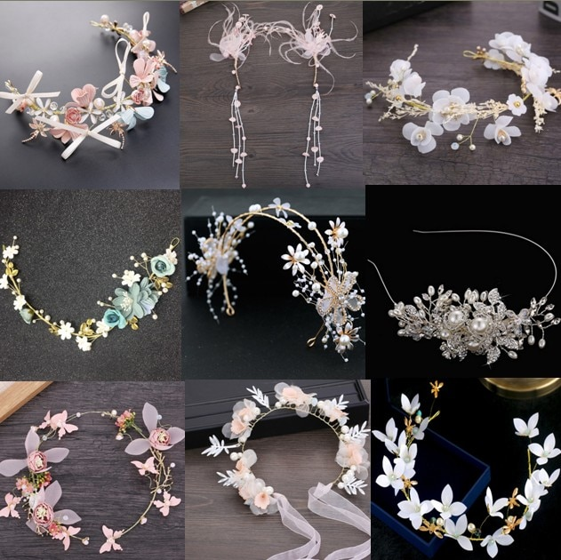 Diademas blancas Rojas, hojas de flores rosas, joyería Boda nupcial, tocado de cristal para novia, accesorios para fiesta de graduación o boda