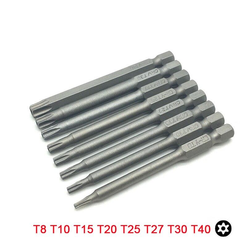 8 piezas Torx T8 T10 T15 T20 T25 T27 T30 T40 poco con hueco 75mm 1/4 pulgadas puntas de destornillador de acero Cr-V de vástago hexagonal 6,35mm