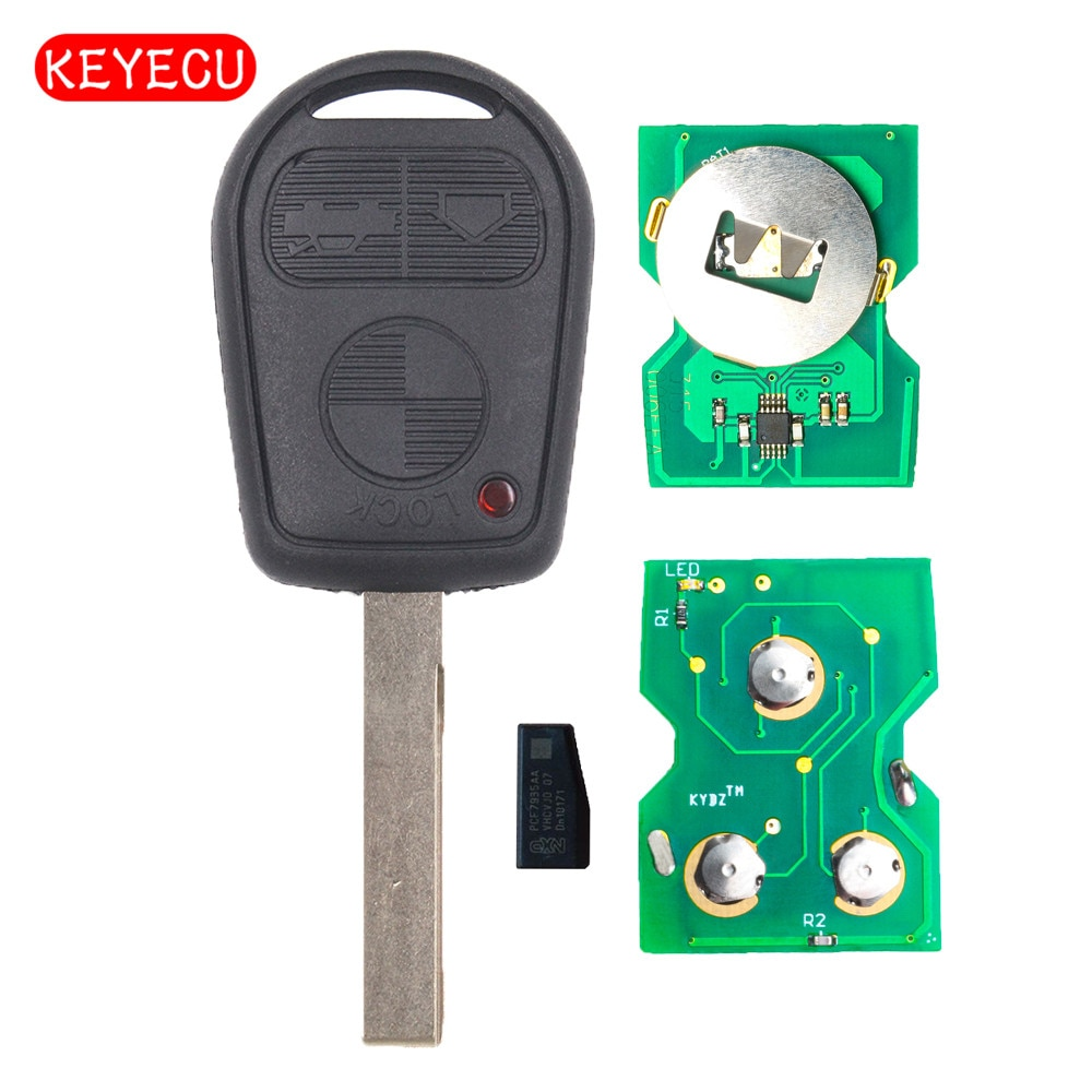 Keyecu EWS Can frecuencia ajustable 3 botones mando a distancia Fob 315/433MHz ID44 Chip para viejo BMW 3 5 7 X5 X3 Z4 E38 E39 E46 HU92