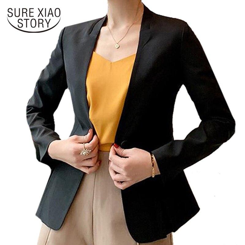 Chaqueta de manga larga de otoño para mujer, chaquetas para mujer 2019, chaqueta de Blanco sólido para trabajo de oficina para mujer, abrigos y chaquetas formales para mujer 5024 80