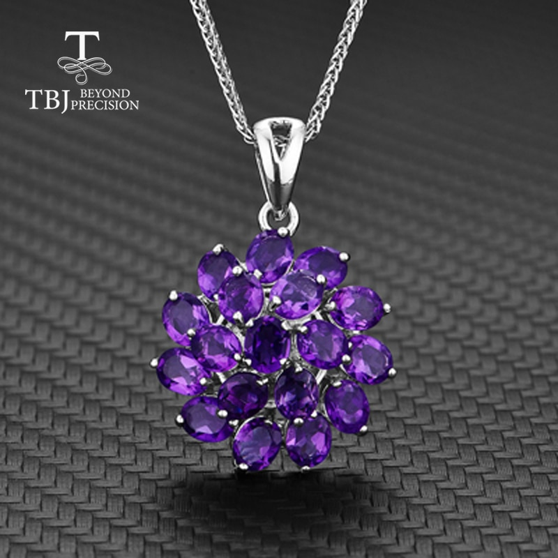 TBJ,925 sterling silver deep color african amethyst flower shape pendant necklace&earrings chain best nice gift for women wife