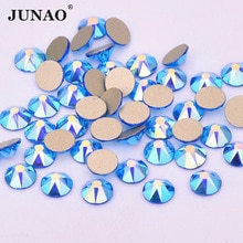 JUNAO 8 Big 8 pequeña capa azul AB Nail Art Rhinestones Facet piedras de cristal no Hotfix Strass cristales de diamante Flatback Beads Craft