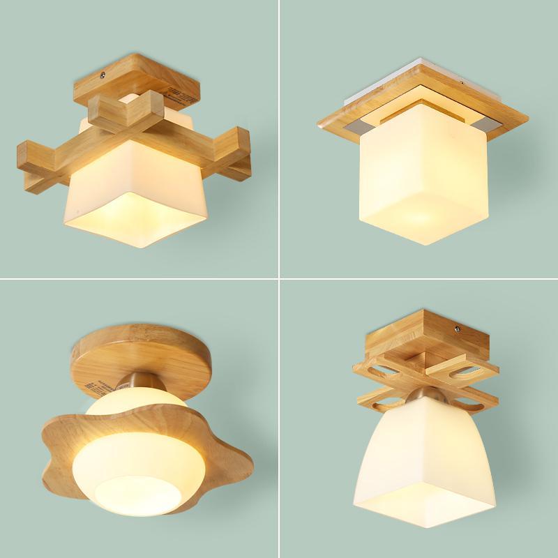 Mini 1 pcs terrace Wood Ceiling Lamp Corridor Light Aisle balcony ceiling fixture Lamps Led Bedroom porch Lights Home Lighting