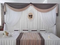 free shipping pure white wedding backdrop with coffee swags