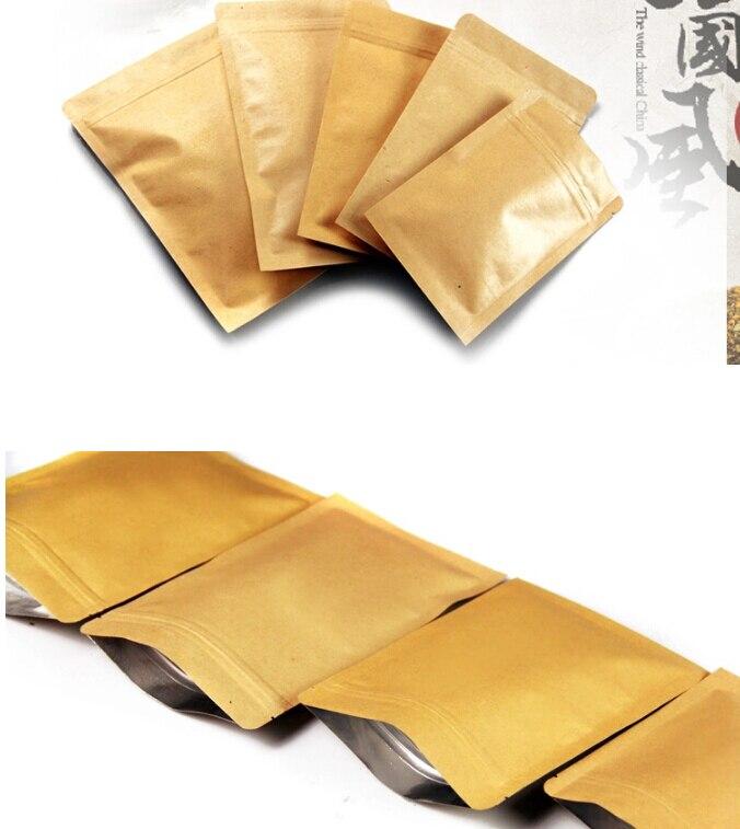 100 Uds., bolsita de papel Kraft, sello de calidad alimentaria, papel de aluminio Bolsa con cierre de cremallera bolsas de papel Kraft, bolsa de almacenamiento de alimentos, bolsas de embalaje de té en polvo