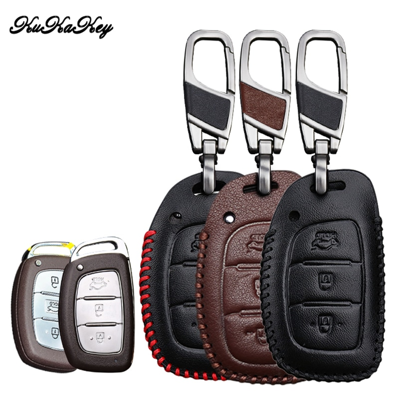 KUKAKEY leather Car Key Case For Hyundai i10 i20 i30 HB20 IX25 IX35 IX45 TUCSON Avante Key Cover Holder Car Styling Accessories