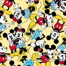 Joli tissu 100% coton dessin animé Mickey Minnie   Tissu jaune coton, tissu imprimé Patchwork, vêtements de couture, bricolage