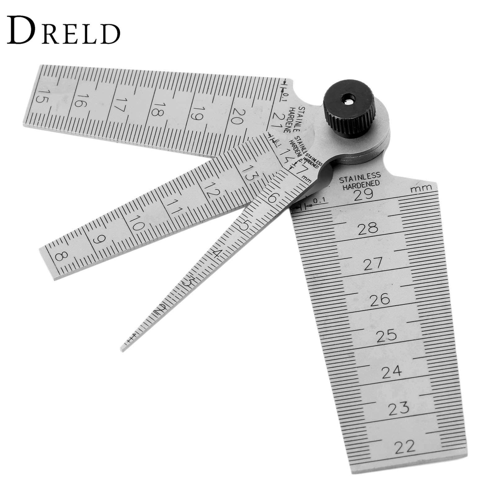 Метрический конический манометр DRELD 0-29 мм, стальная шкала диафрагмы, клинообразный щель для сверлильного отверстия 4 в 1, линейка Мути-фуцион...