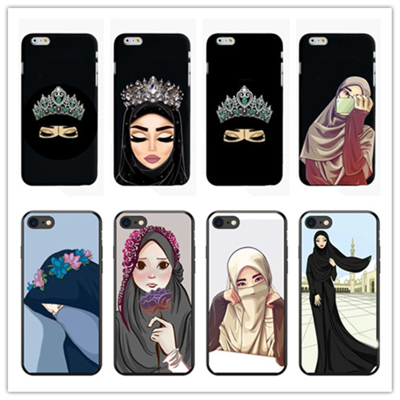Funda de silicona blanda de silicona para teléfono móvil con ojos musulmanes islámicos hiyab árabe para iphone 4 5 6 7 8 PLUS X Fundas Coque Capa