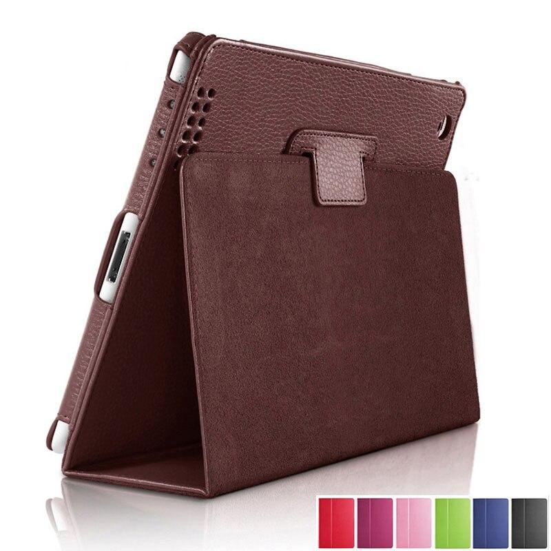 Capa de couro para apple ipad 2, capa de couro pu com despertador automático para ipad 2 3 4 capa de folio inteligente, suporte inteligente