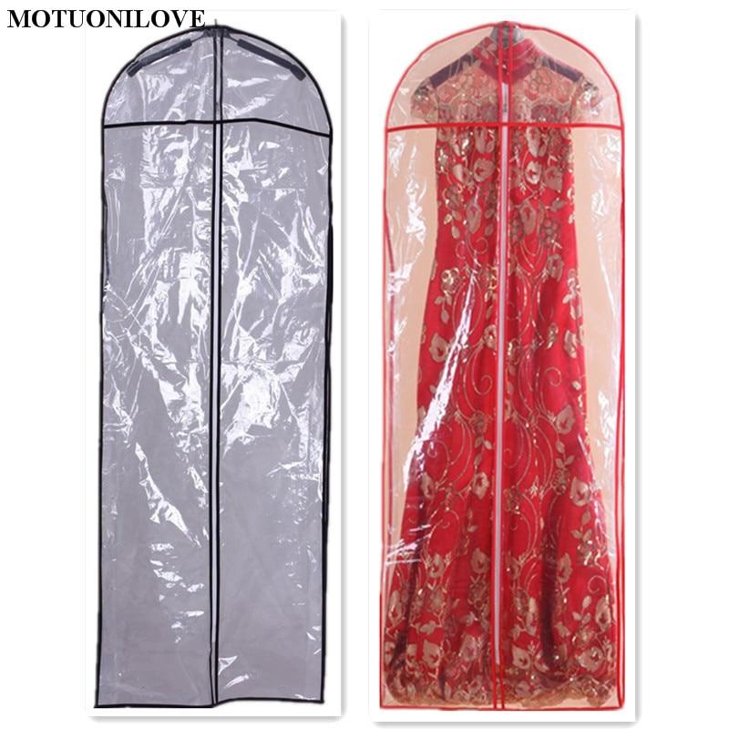 Length 150cm PVC Hot Sale Cheap For Wedding Dress Bag Clothes Dust Cover Garment Bags Bridal Gown Bag Evening Dress Cover M0836 enlarge