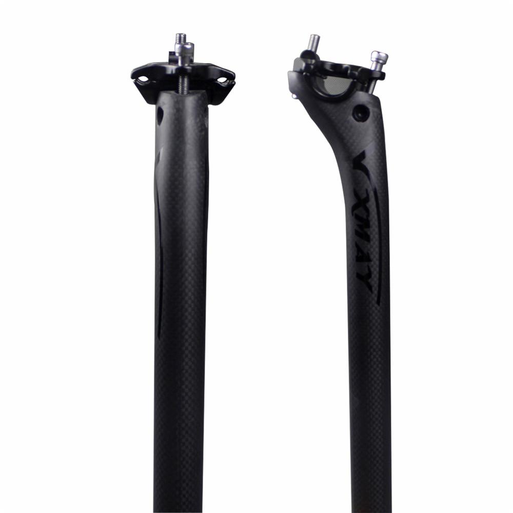 Envío Gratis, tija de sillín Offset de 25mm, tubo de asiento de fibra de carbono 27,2/30,8/31,6*350/400mm, bicicleta de carretera, bicicleta de montaña, uso negro, 3k brillante