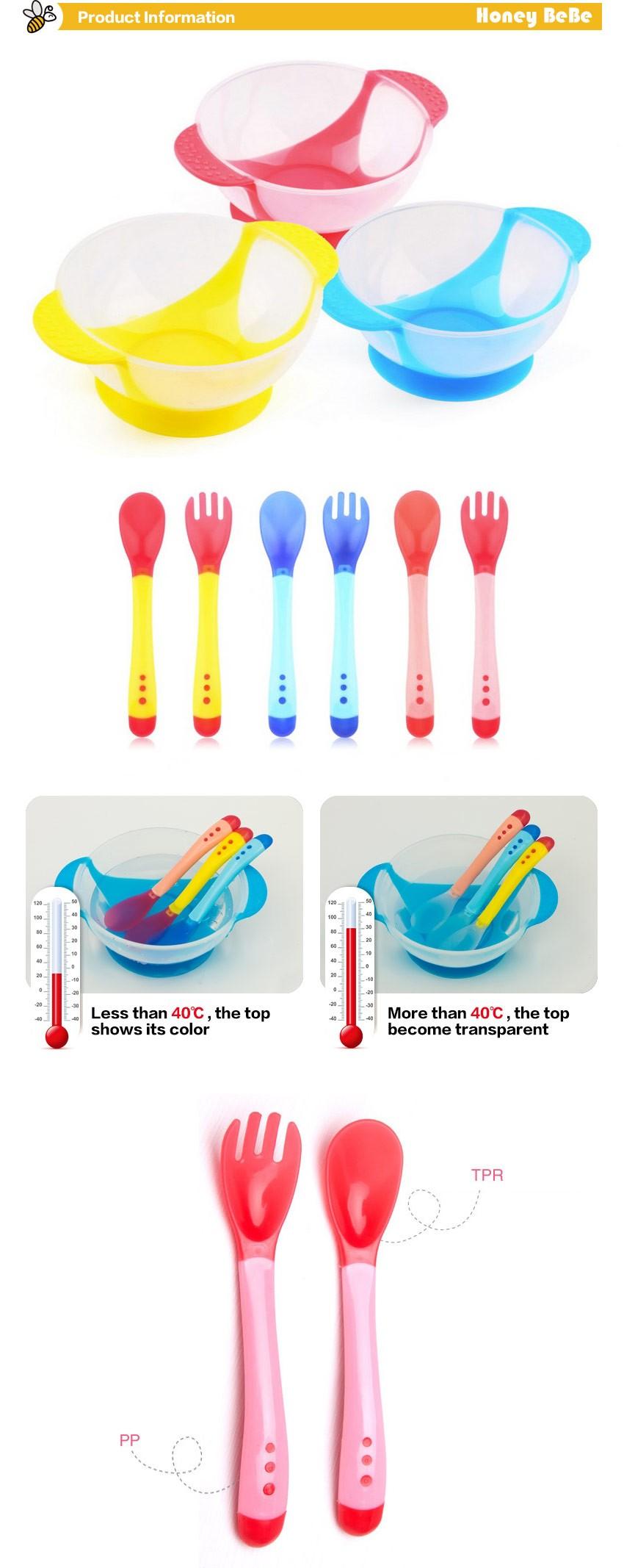Naczynia stołowe dziecko nauki dla dzieci z ssania cup assist żywności łyżka karmienia dziecka miska miska temperature sensing 2