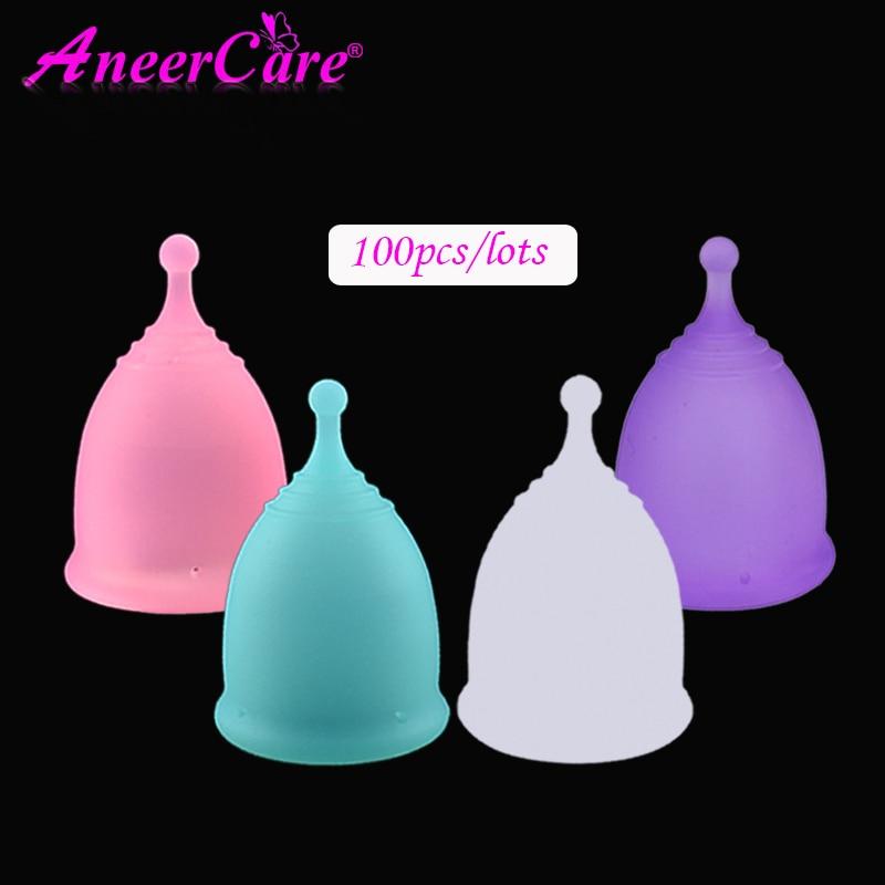 100 Uds copa Menstrual para mujeres higiene femenina Medical100 % copa de silicona copa Menstrual reutilizable copa menstrual para mujeres que las almohadillas