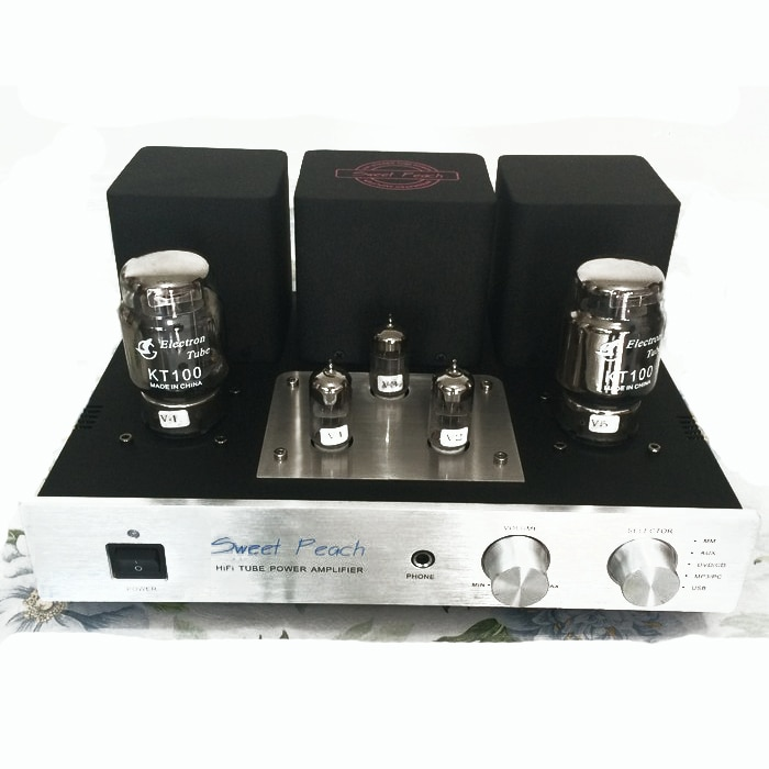 AMPLIFICADOR DE TUBO IWISTAO KT100 etapa de potencia 2x13W triodo conexión Clase A señal-terminado con MM Phono auriculares Amp decodificador USB