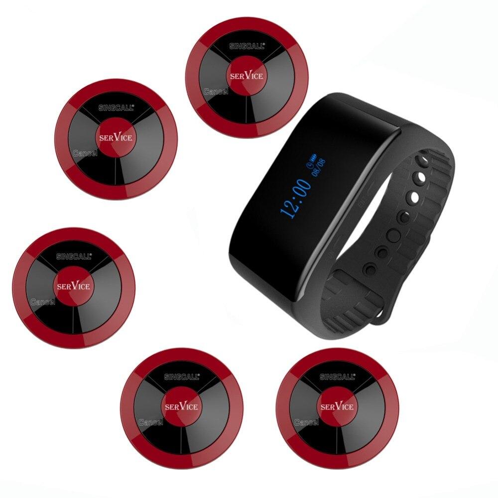 SINGCALL sistema inalámbrico para avisar a camareros llamada de hotel campana 1 nueva pulsera a prueba de agua llamada receptor móvil 5 buscapersonas multi-clave
