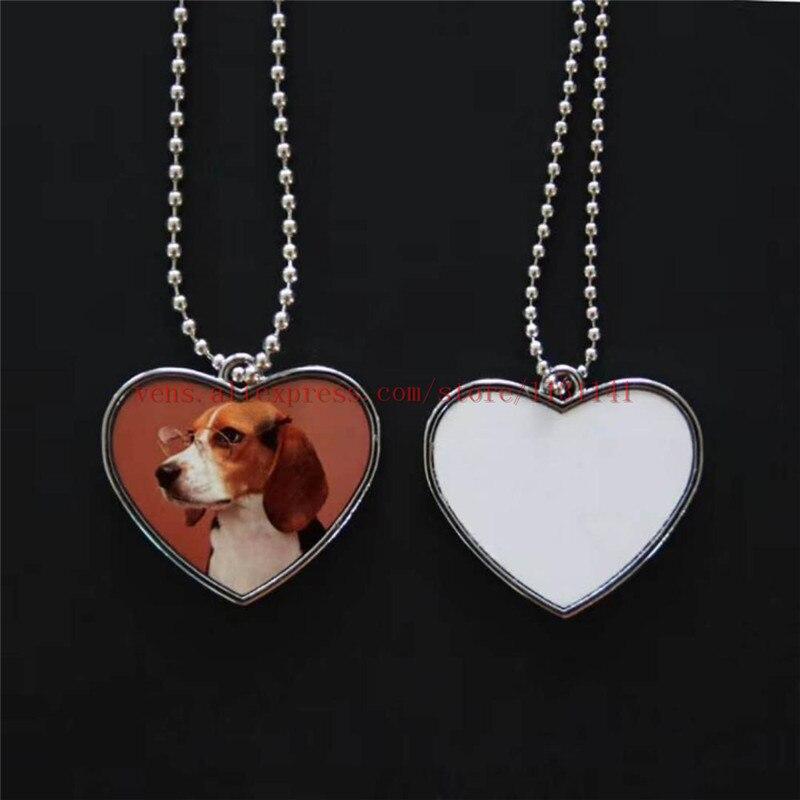 Etiqueta de perro de sublimación, collares de corazón, colgantes, impresión en caliente diy, consumibles personalizados en blanco, 10 unids/lote 001, Impresión de dos lados