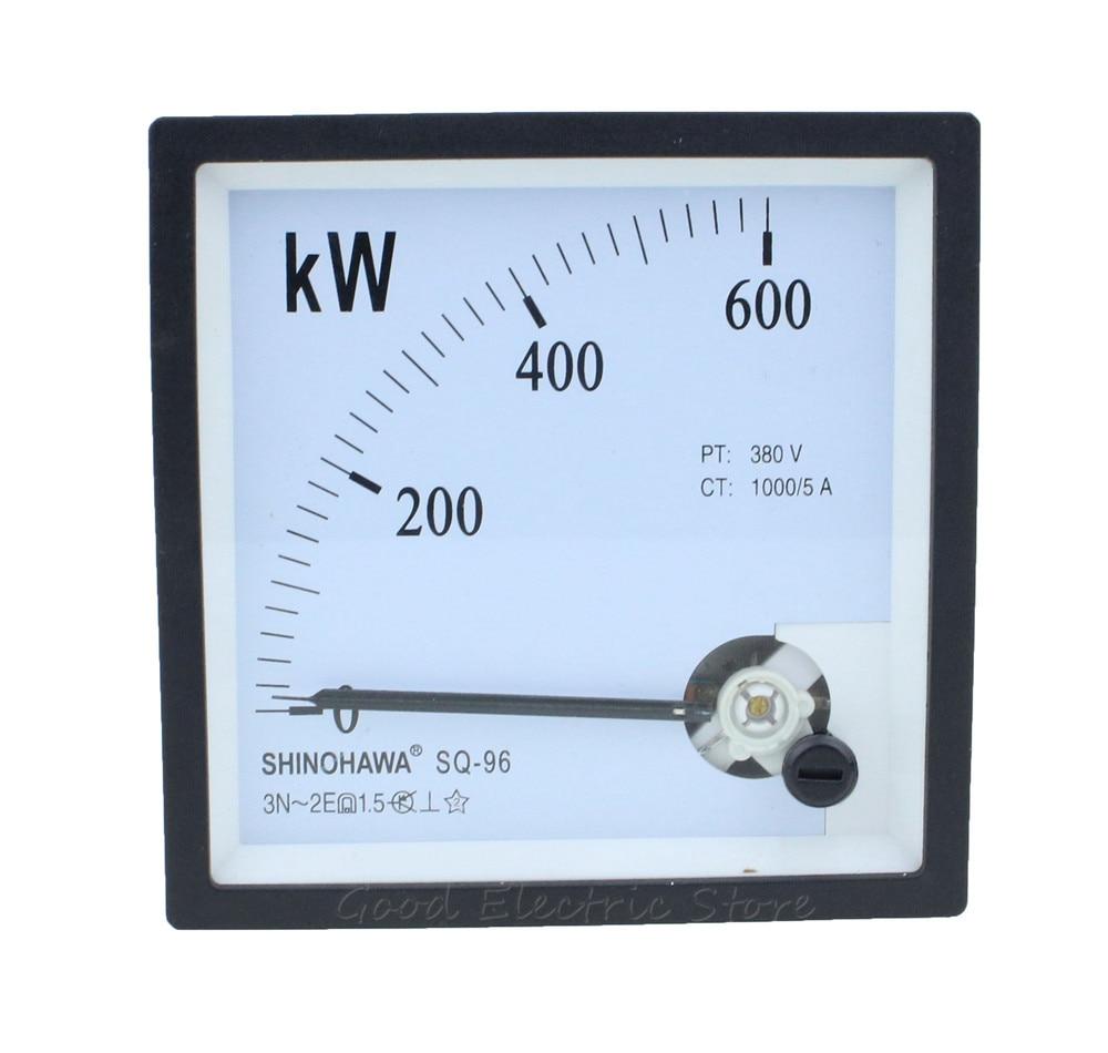 SQ-96 CP-96 CZ-96 medidor de KW puntero de tres fase activa de 600KW/1000/5A 380V generador de instrumento cabeza medidor de potencia