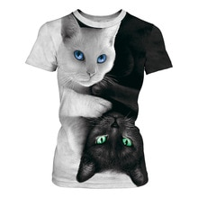 Femmes mode 3D Animal chat imprimé T Shirt été o-cou Sreetwear Tee décontracté unisexe hauts