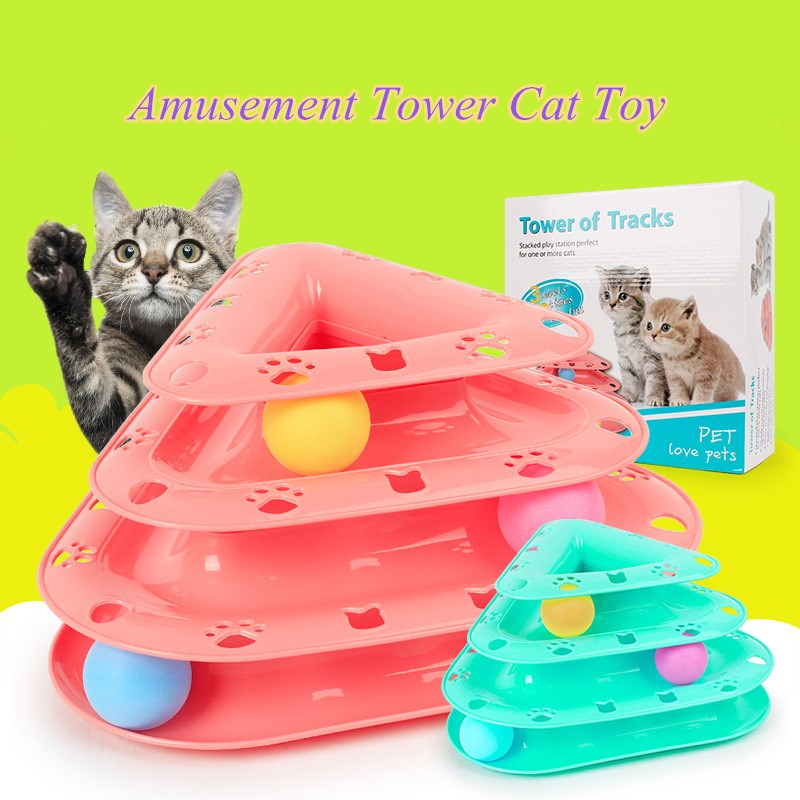 Plato giratorio Torre Trilaminar gatos de juguete graciosos JCPAL con bola giratoria herramienta de entrenamiento antideslizante gatito juego de atracciones plato de disco