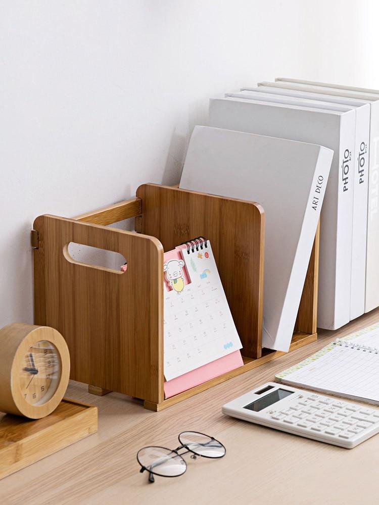 Estante retráctil de bambú, soporte de escritorio para libros, Soporte Simple para libros, organizador de oficina, sujetalibros
