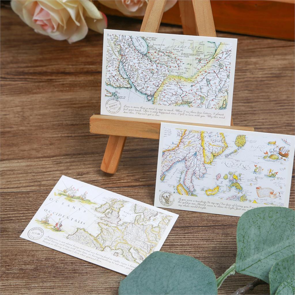 Multiuso 5,2*8 cm 54 Uds Mini tarjeta viejo tiempo estampado de mapa DIY Scrapbooking Tarjeta de invitación de fiesta Tarjeta de mensaje de regalo