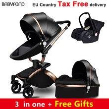 Babyfond-poussette de bébé 3 en 1   Poussette de luxe EU 2 en 1, poussette en cuir deux voies à absorption de chocs, marque baby 2 en 1, poussette or marron, cadeaux gratuits