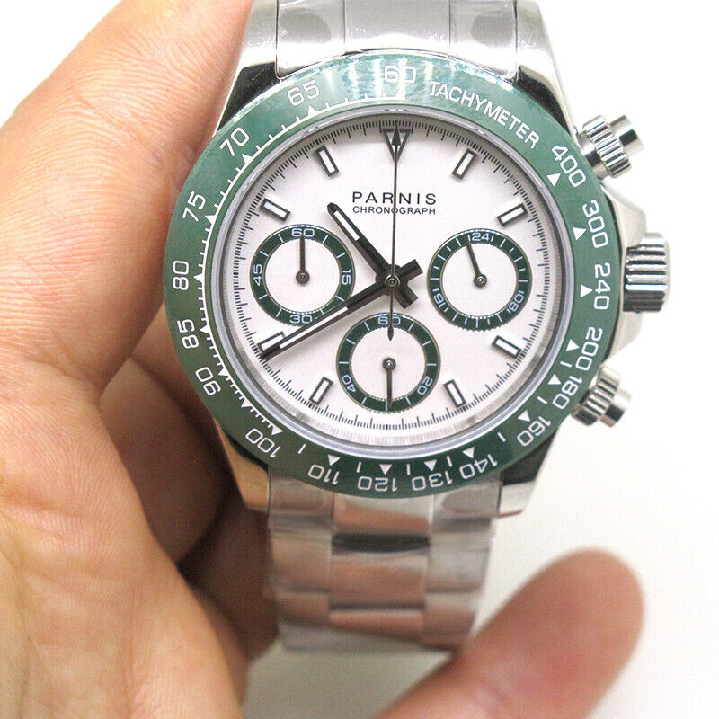 Reloj cronógrafo para hombre con movimiento de cristal cuarzo zafiro Parnis de 39mm, marcador verde