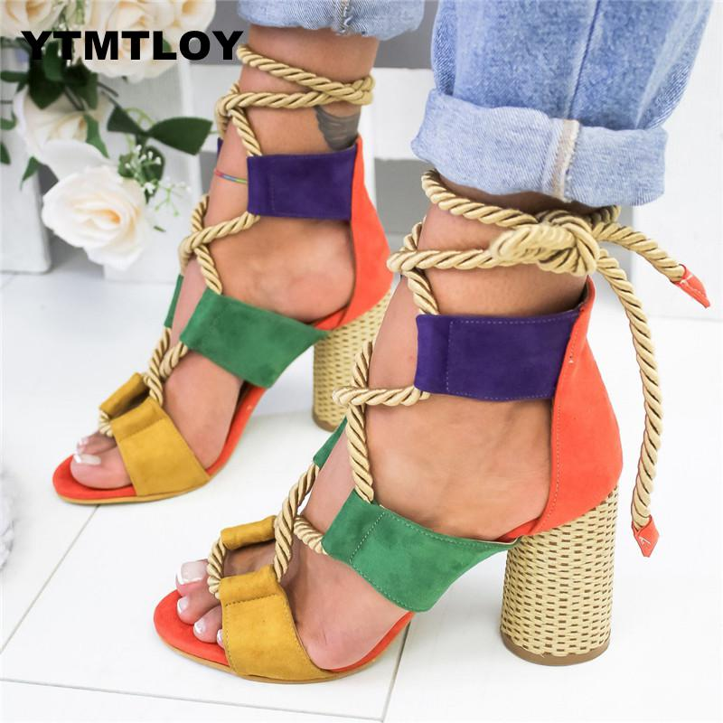Summer Wedge Espadrilles Women Sandals 7CM Heel Pointed Fish Mouth Sandals Woman Hemp Lace Up Women Platform Sandals