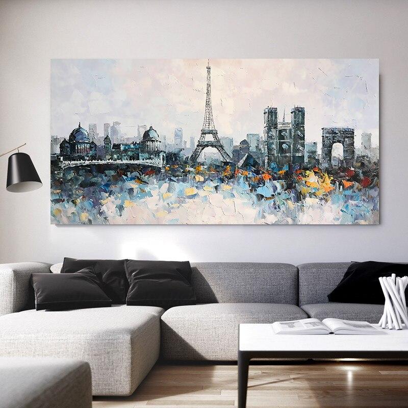 Pintura a Óleo sobre Tela Arte da Textura da Parede Pictures para Sala de Estar Torre Paris Cityscape Quadros Caudros Impasto Abstrata Moderna