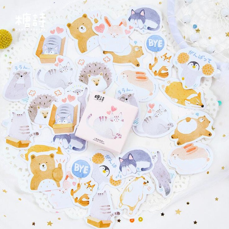 Lindo Panda Animal en caja pegatina álbum de recortes Bullet calendario diario artículo decoración en forma de sellado pegatina Corea papelería