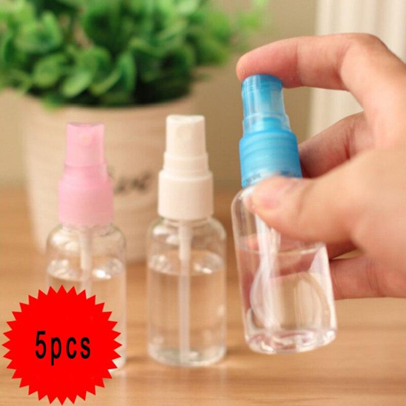 Novo 5 pçs/set compõem e cuidados com a pele plástico transparente 30ml pequena garrafa de spray vazio recarregável