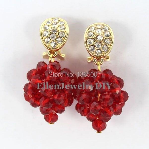 Red Crystal Earrings Nigerian Crystal Beads Earrings Statement Bridesmaid Earrings Wedding Gift African Bridal Jewelry