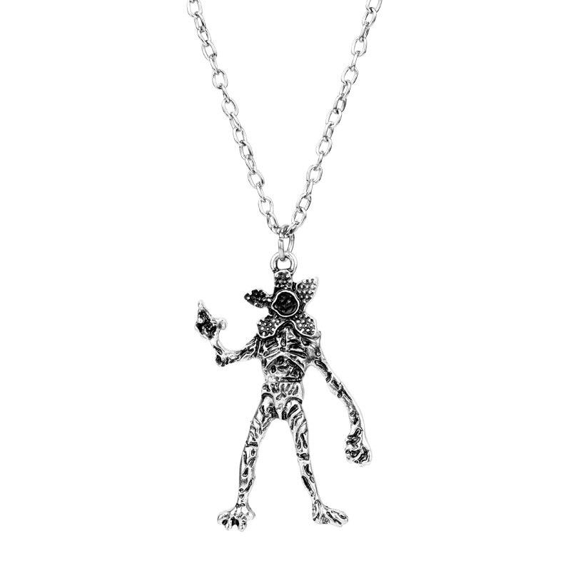 Mqchun moda coisas estranhas do vintage colar demodog demogorgon monstro pingente cosplay jóias para presentes femininos masculinos-30