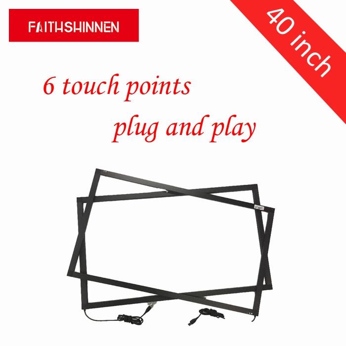 40 дюймов 6 точек ИК мульти сенсорный экран рамка панель сенсорный экран наложения комплект ИК мульти сенсорный без стекла