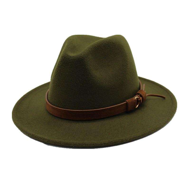 oZyc  Jazz Hat Lady Autumn Winter Hat Women Fedora Hat Men Wide Brim Felt Cap Female Chapeau 100%Wool Cap Male